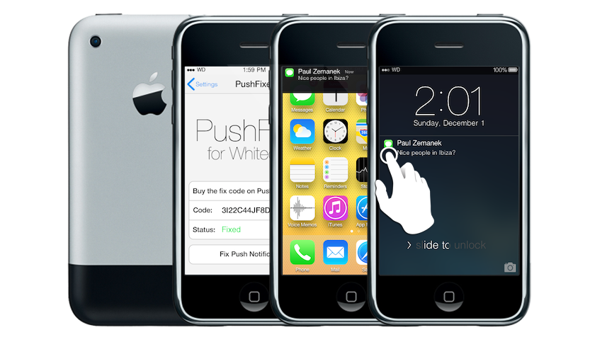 Whited00r includes Amazing iOS7-like Push Notifications on the Lockscreen with blur-effect and banner alerts. Touch on the Notification to open the corresponding application. Whited00r also allows you to enable Push Notifications on an unlocked iPhone with a simple Graphic User Interface in Settings that will automate the whole process Push Notifications on Lockscreen